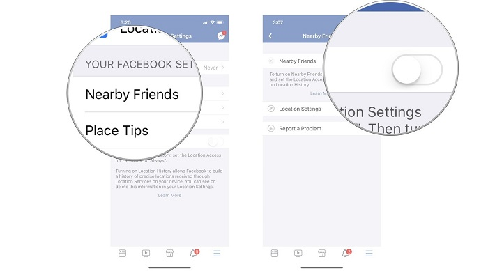 facebook nearby friend gps location on iphone