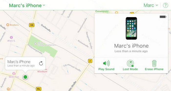 find my iphone map location
